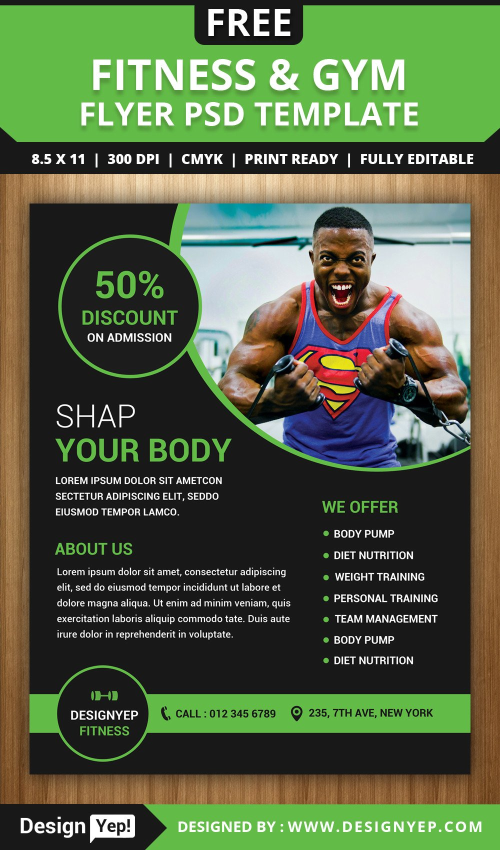 Fitness Flyer Template Free Free Gym and Fitness Flyer Psd Template Designyep