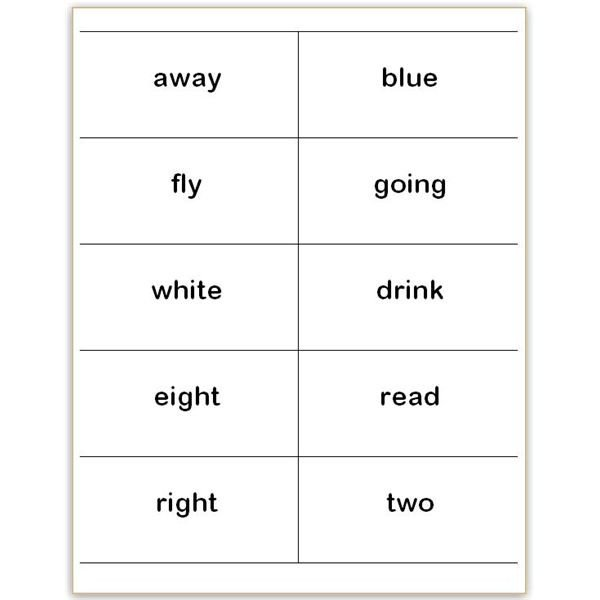 Flash Card Template Word where to Find and How to Make Printable Dolch Sight Word