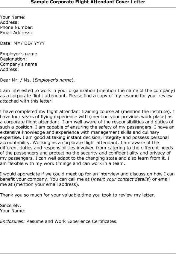 Flight attendant Cover Letter Cover Letter How to Type Correct Flight attendant Cover