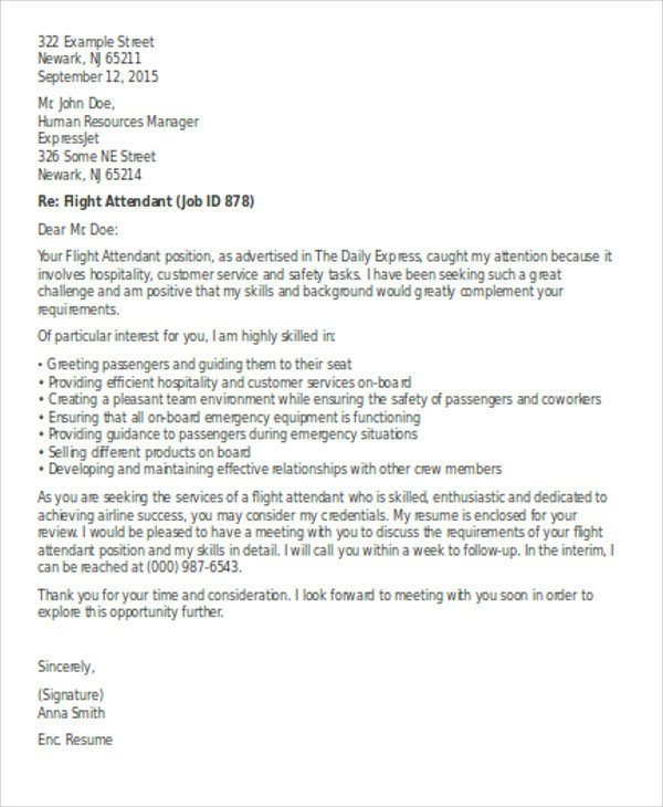 Flight attendant Cover Letter Flight attendant Cover Letter 9 Free Word Pdf format