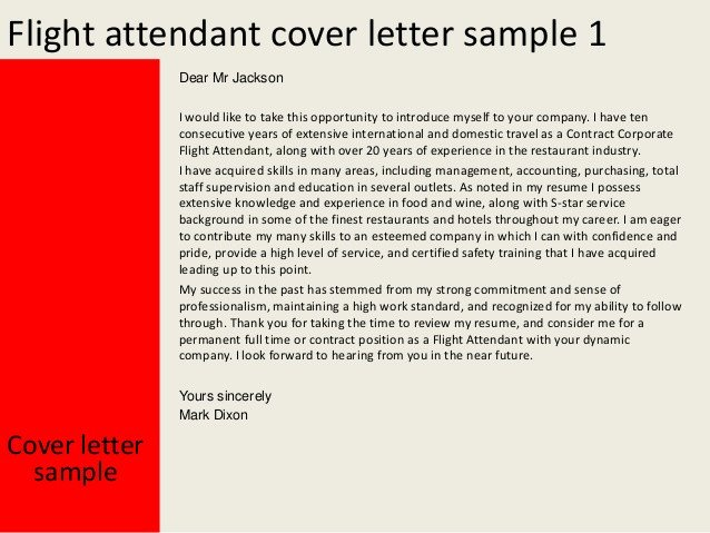 Flight attendant Cover Letter Flight attendant Cover Letter