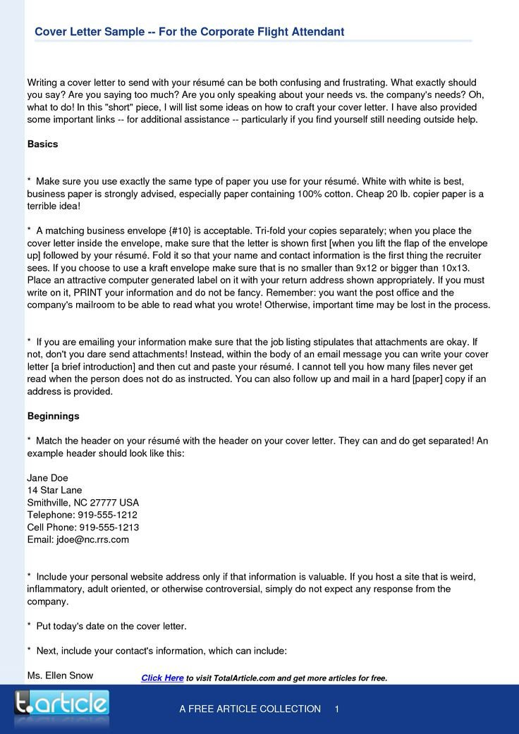 Flight attendant Cover Letter Flight attendant Cover Letter Template