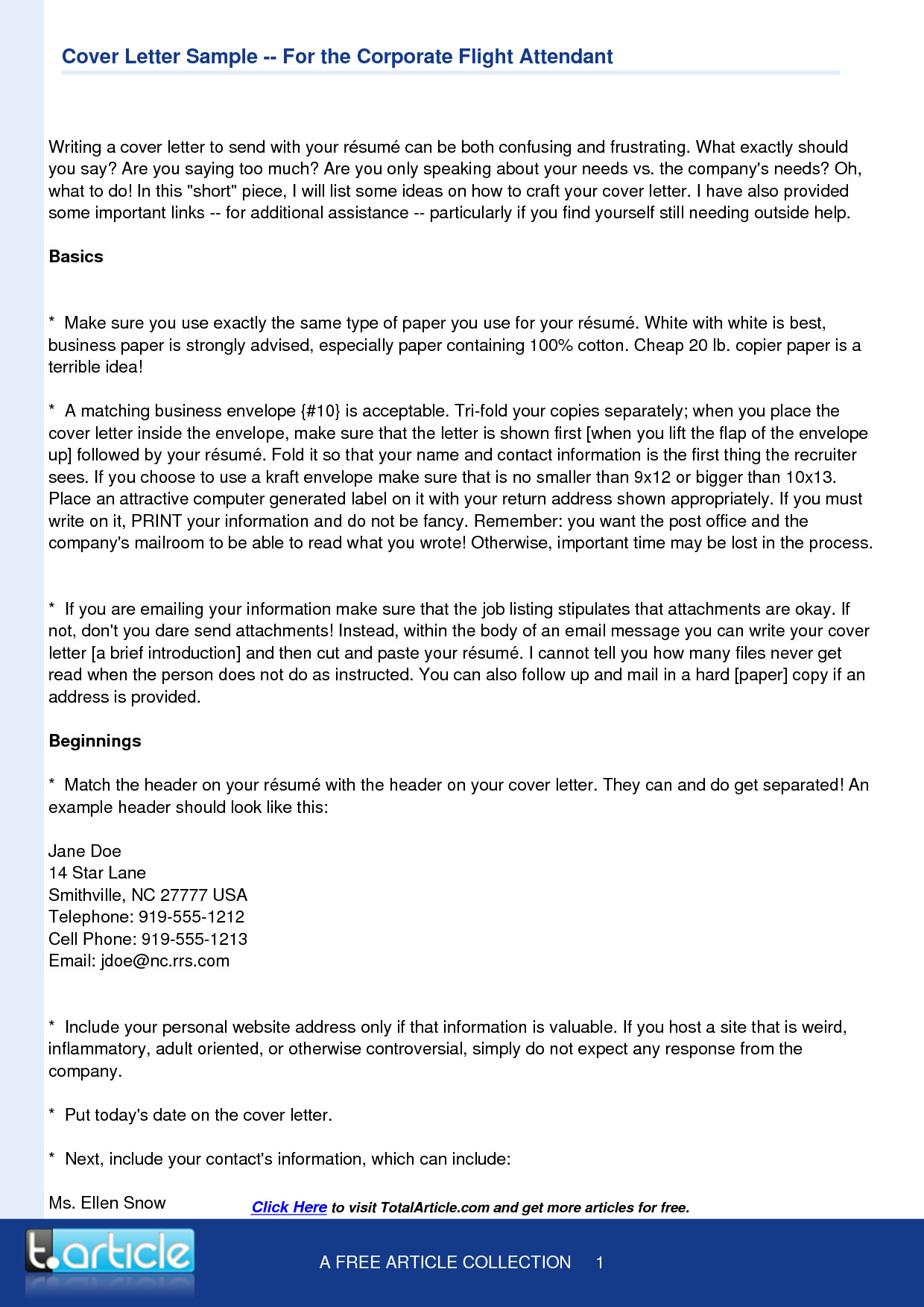Flight Attendant Cover Letter Template