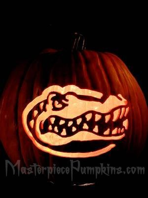 Florida Gator Pumpkin Stencil Carving Masterpiece Pumpkins Pre Carved Pumpkins Custom Carved