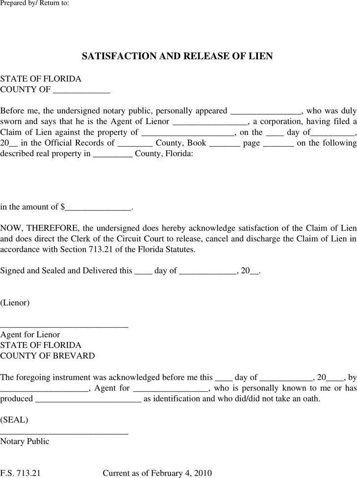 2 Florida Lien Release Form Free Download