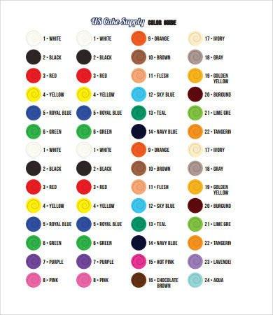 Food Coloring Mixing Chart Food Coloring Chart 9 Free Pdf Documents Download