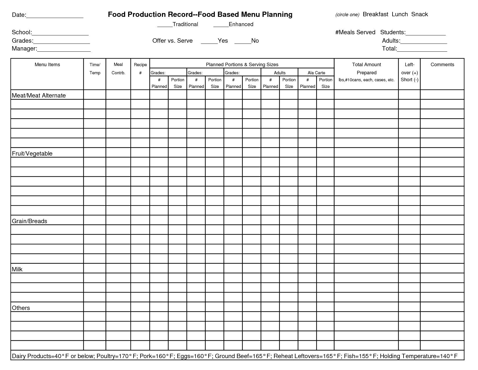 Food Service Production Sheets 14 Best Of School Worksheet Template Kindergarten