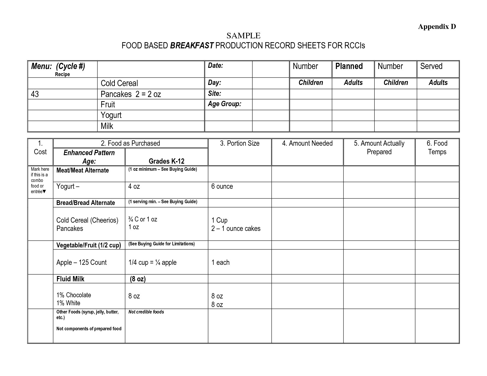 Food Service Production Sheets 26 Of Food Production Sheet Template