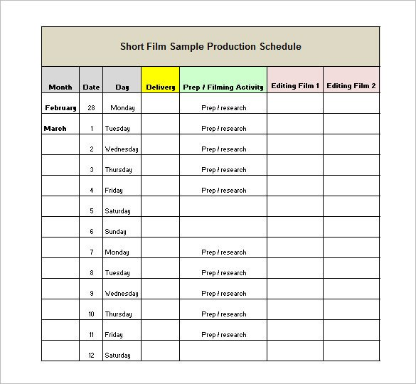 Food Service Production Sheets Production Schedule Template 13 Free Sample Example