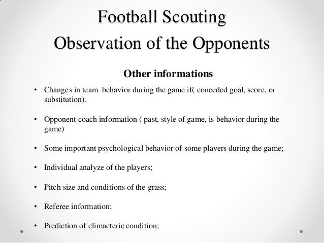 Football Scouting Template Free Football Scouting Observation Of the Opponents Mauro