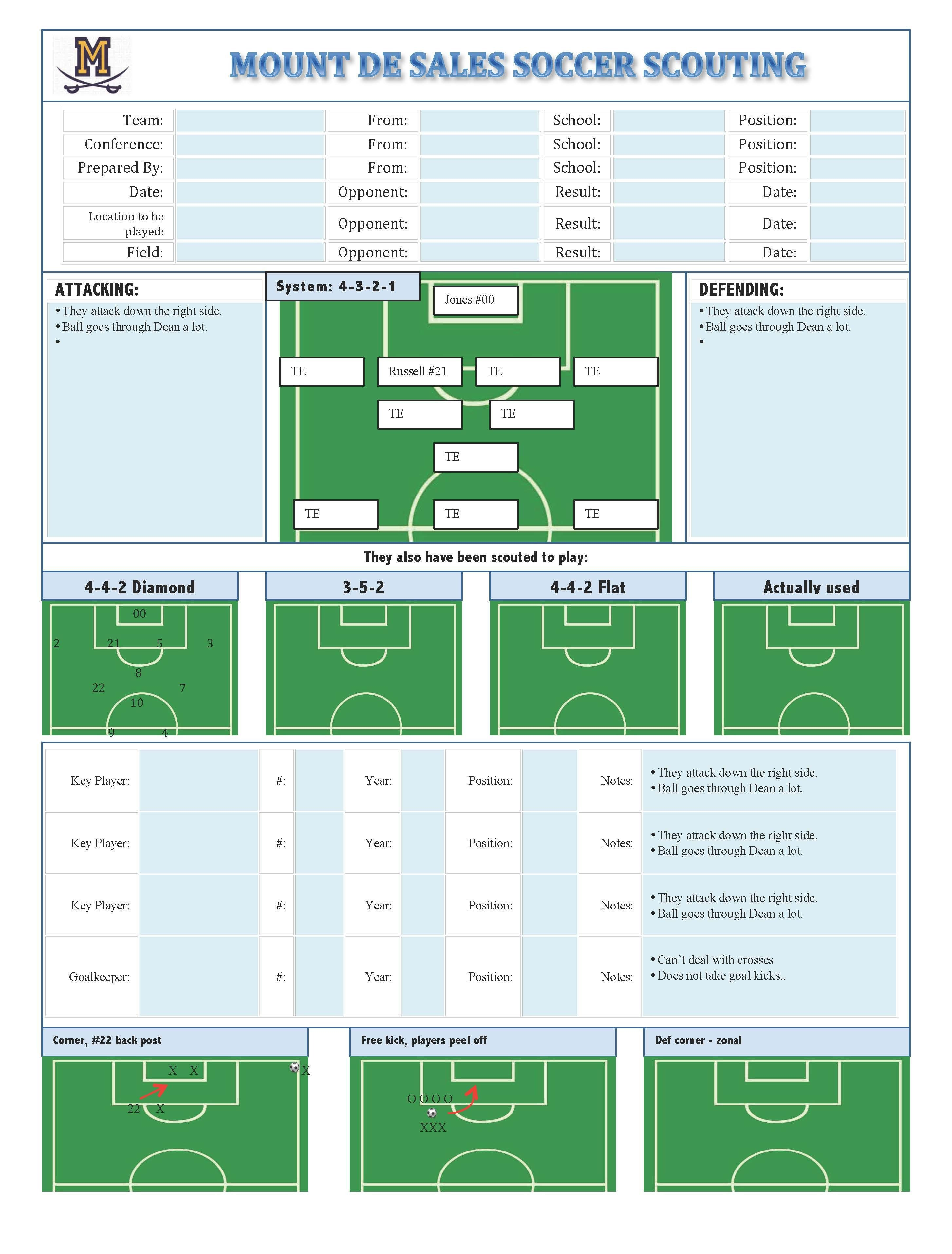 Football Scouting Template Free soccer Scouting Template Other Designs