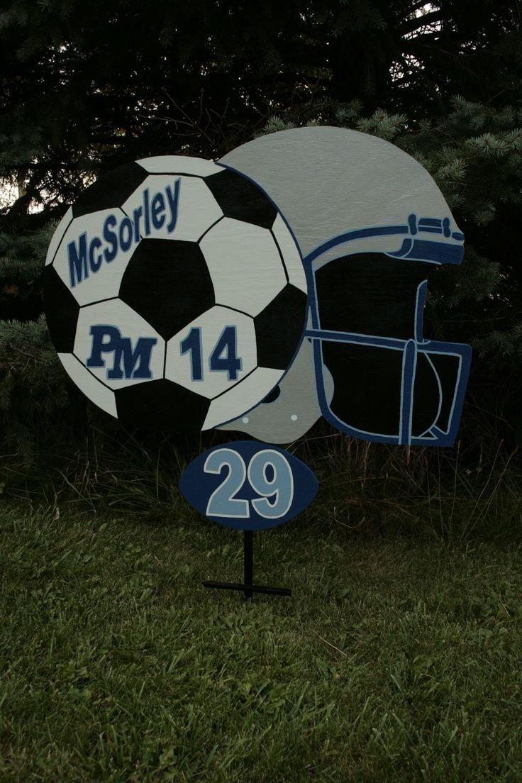 Football Yard Sign Template Personalized Sports Yard Sigs Signladybiz On Etsy