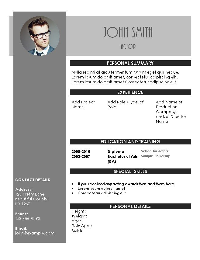 Free Acting Resume Template Acting Resume Template