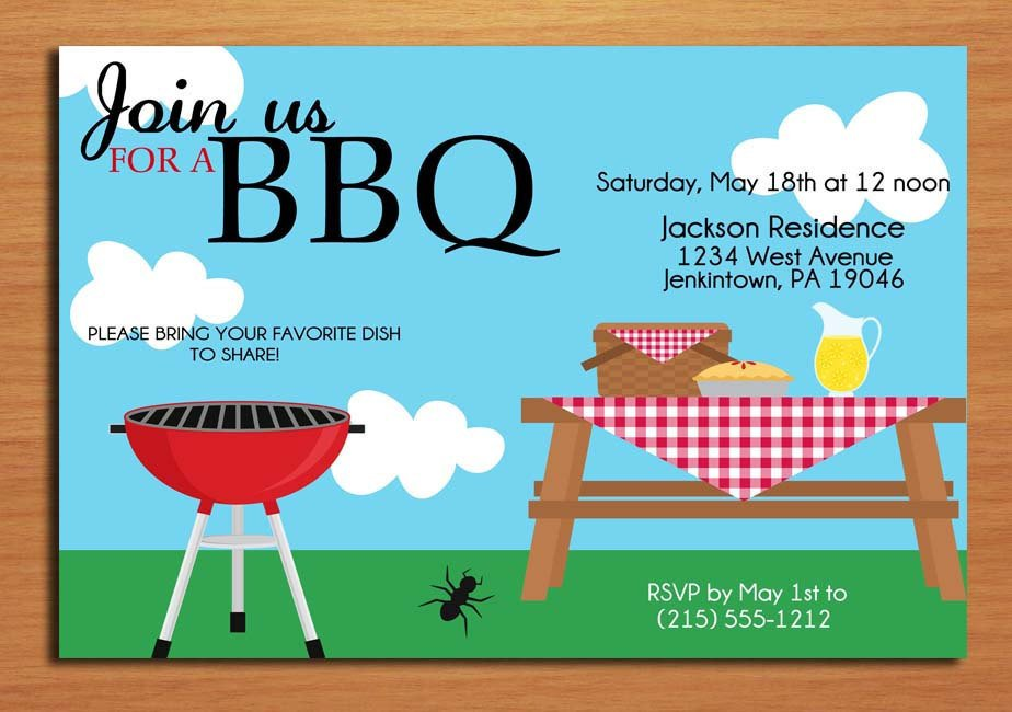 Free Bbq Invitation Template Summer Picnic Customized Printable Bbq by