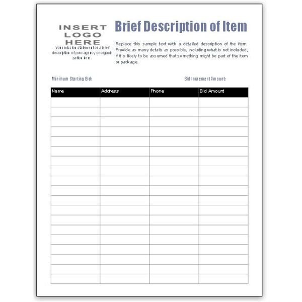 Free Bid Sheet Template Collection Downloads for MS Publisher