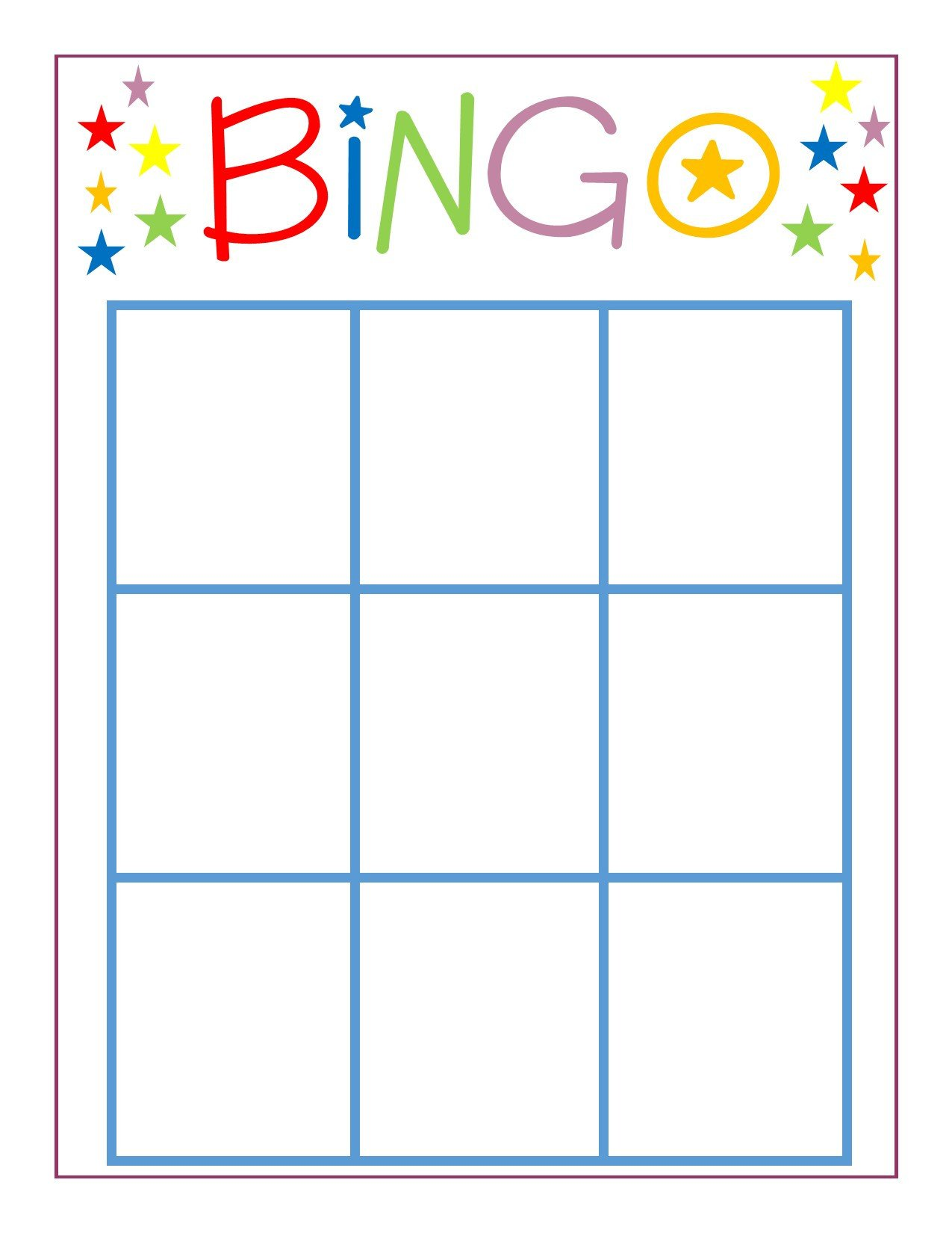 Free Bingo Card Template Family Game Night Bingo