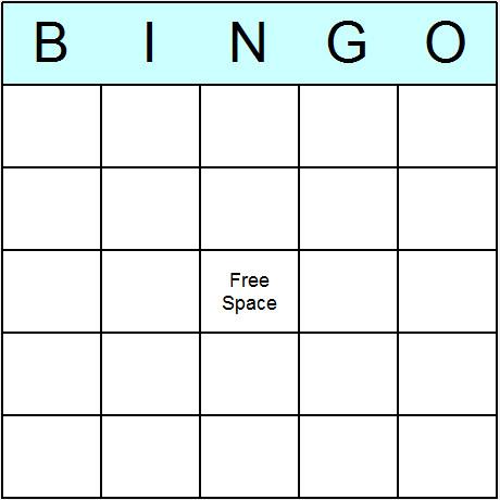 Free Bingo Card Template Game Resources