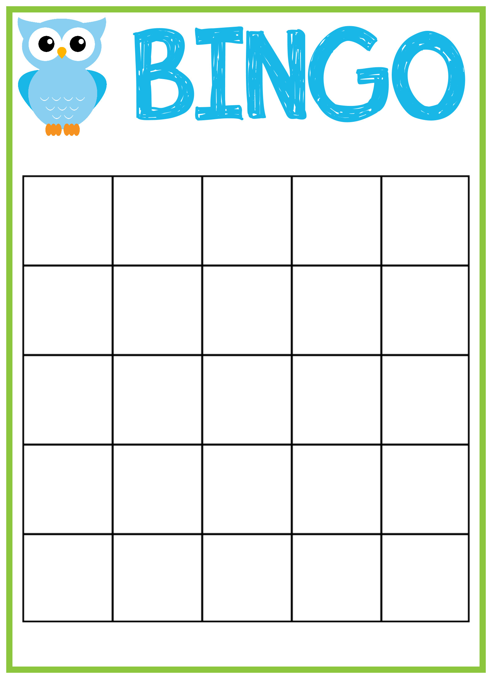 Owl Baby Shower Bingo Cards Crazy Little Projects