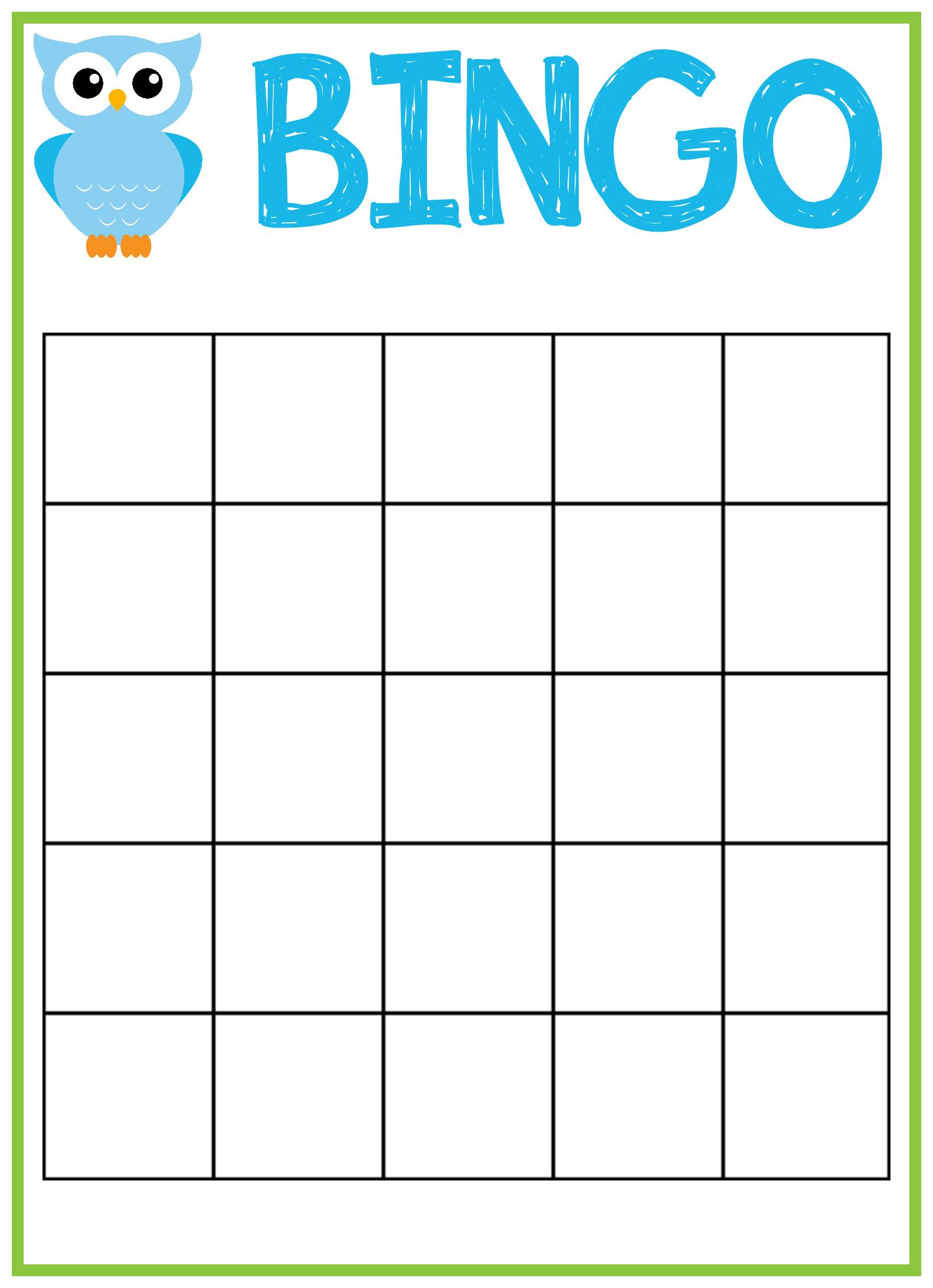 Free Bingo Card Template Owl Baby Shower Bingo Cards Crazy Little Projects