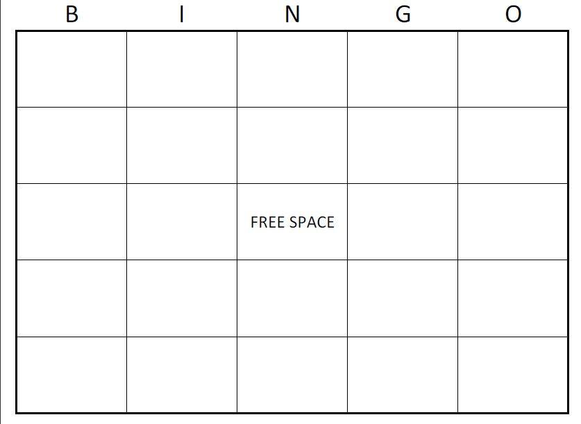 Free Bingo Card Template Printable Blank Bingo Cards