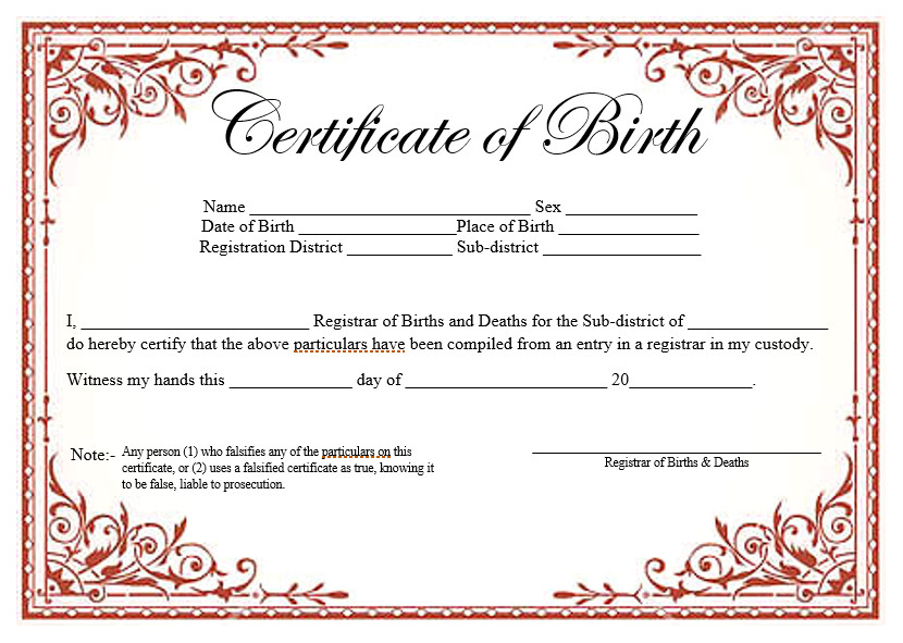 Free Birth Certificate Template 14 Free Birth Certificate Templates In Ms Word & Pdf