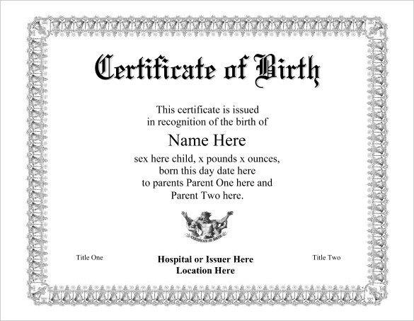 Free Birth Certificate Template Birth Certificate Template 38 Word Pdf Psd Ai