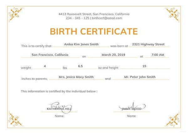 Free Birth Certificate Template Birth Certificate Template 44 Free Word Pdf Psd
