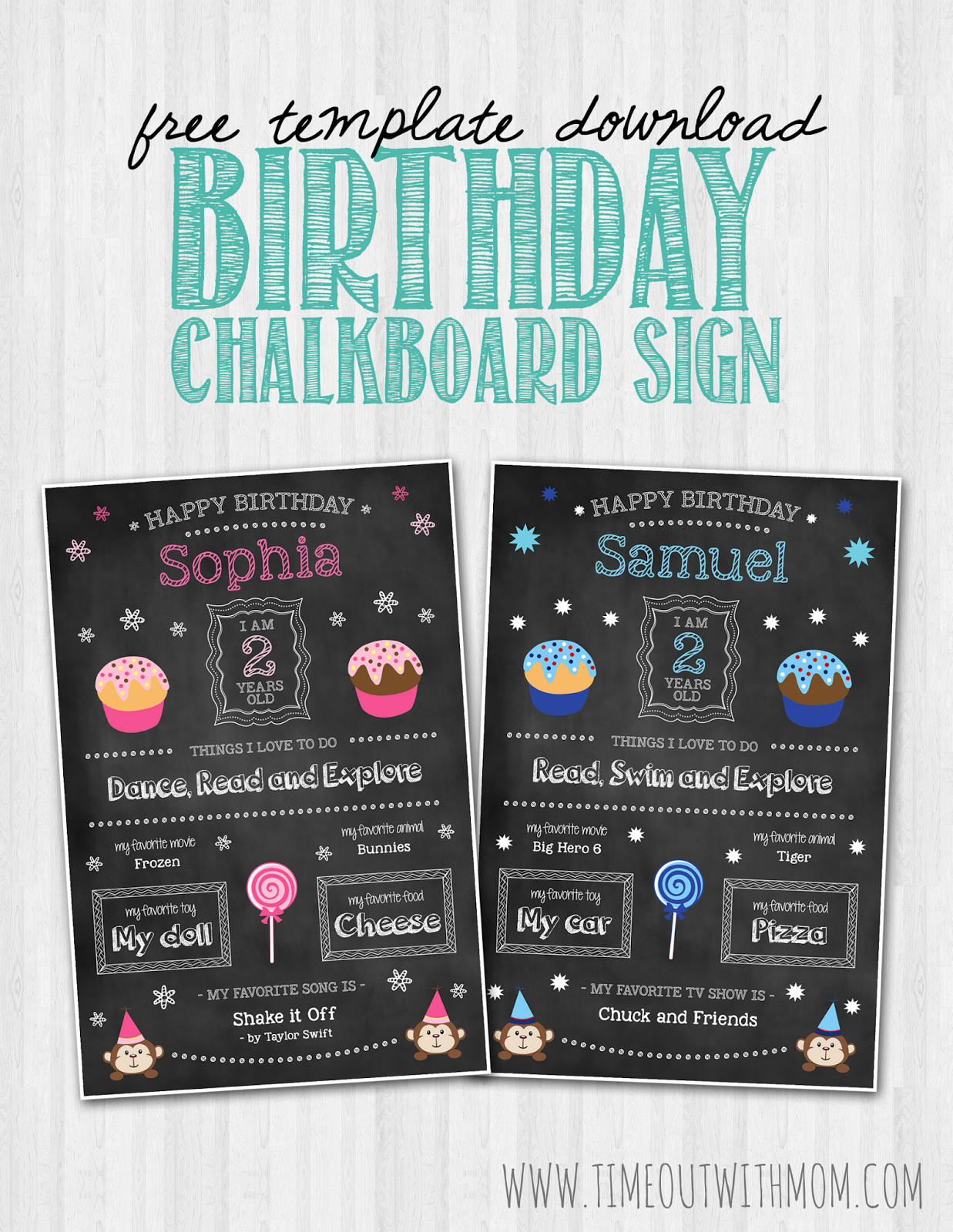 Free Birthday Chalkboard Template Birthday Chalkboard Sign Template and Tutorial