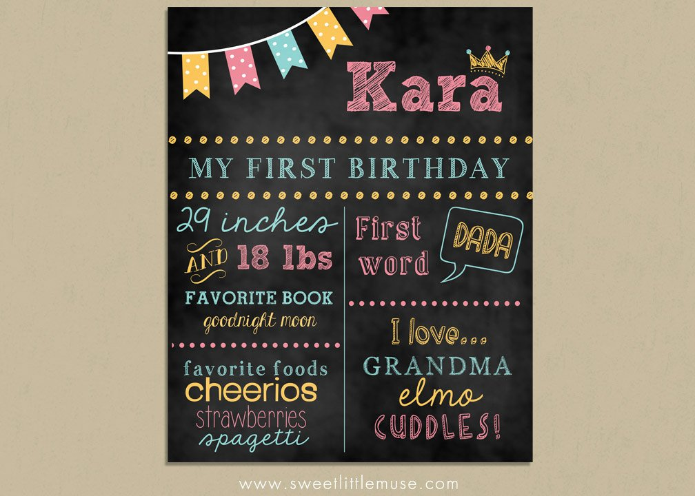 Free Birthday Chalkboard Template First Birthday Chalkboard Template Chalkboard by