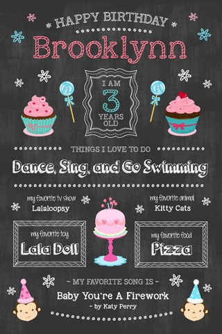 Free Birthday Chalkboard Template Free Your Choice Of Little Girls 1st Birthday Chalkboard