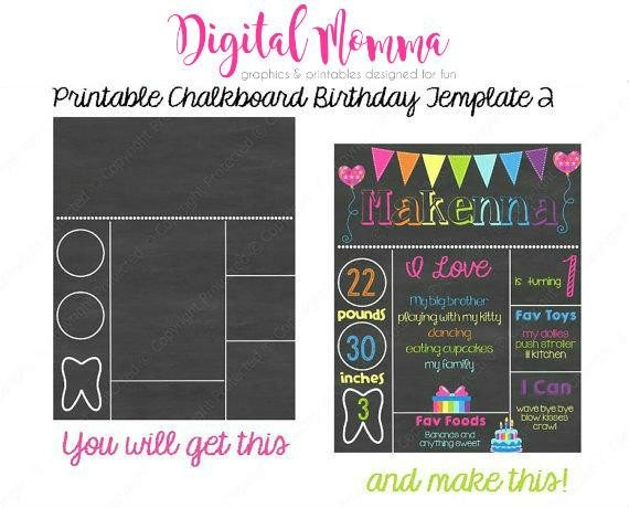Free Birthday Chalkboard Template Printable Chalkboard Birthday Template Personal & Mercial