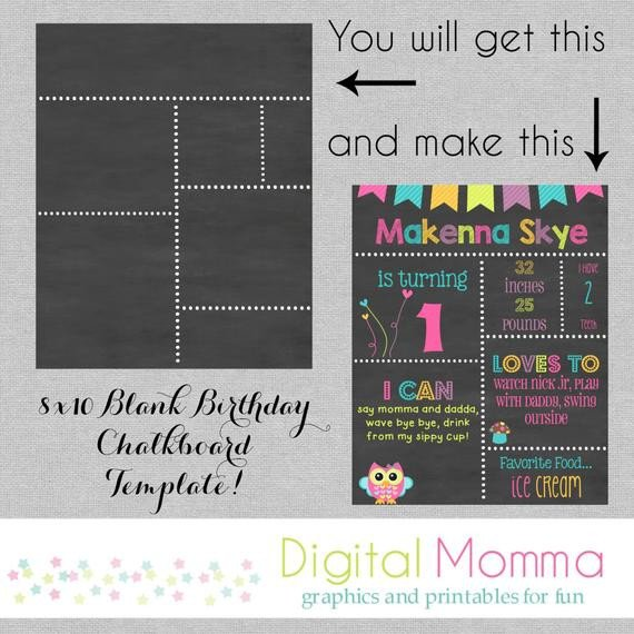 Free Birthday Chalkboard Template Printable Diy Blank Birthday Chalkboard Template by