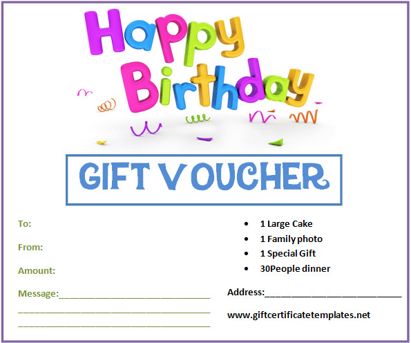 Free Birthday Gift Certificate Template Birthday Gift Certificate Templates by