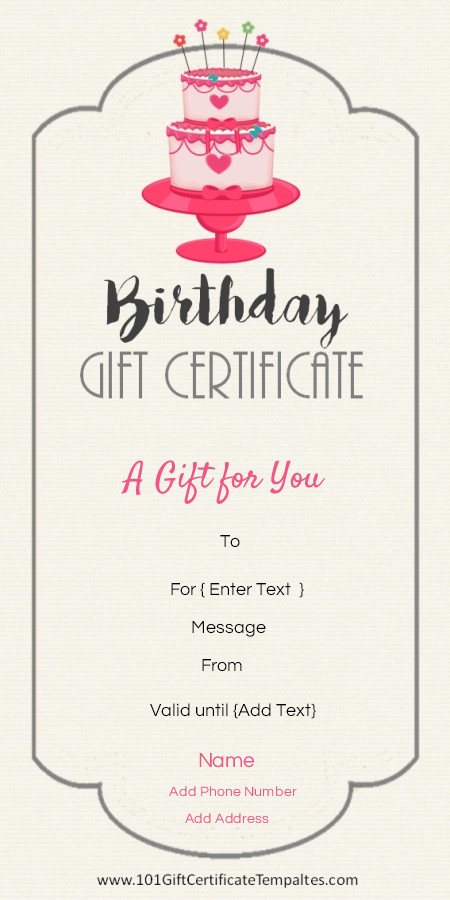 Free Birthday Gift Certificate Template Birthday T Certificate Template … Gift Ideas