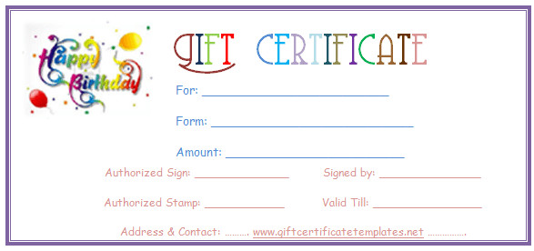 Free Birthday Gift Certificate Template Simple Balloons Birthday T Certificate Template