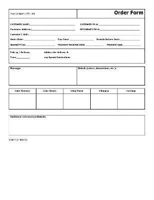 Free Cake Contract Template 23 Best Cake order forms Images On Pinterest