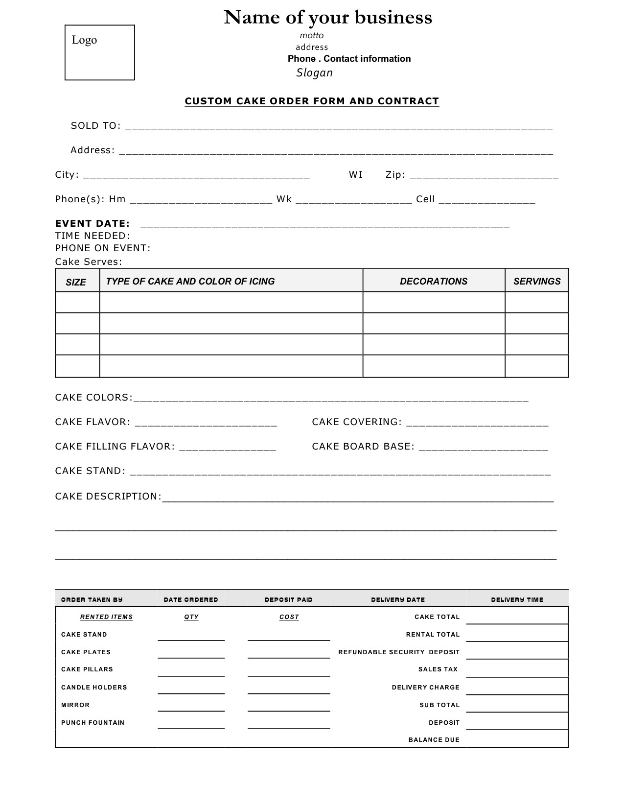 Free Cake Contract Template Cake Contract Sample Cakepins