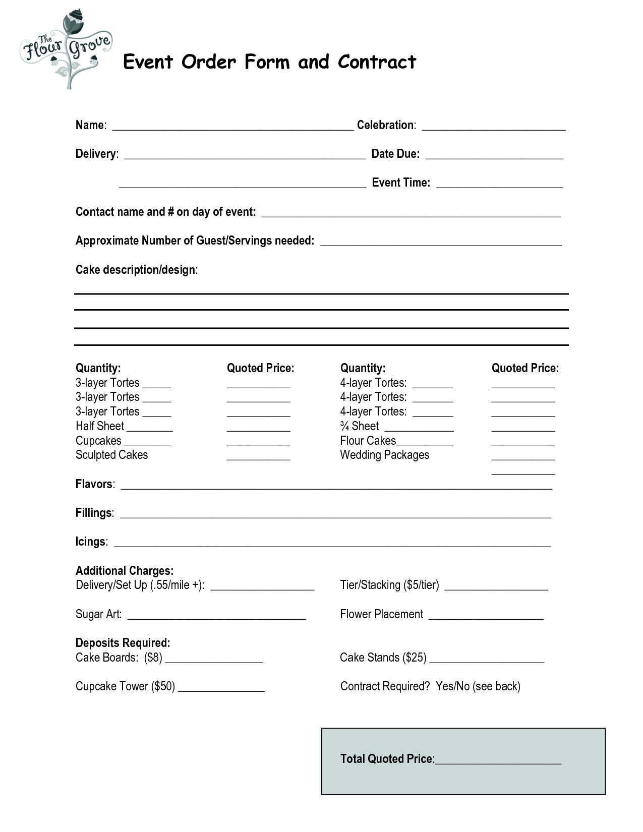 Free Cake Contract Template Cake order Contract event order form and Contract