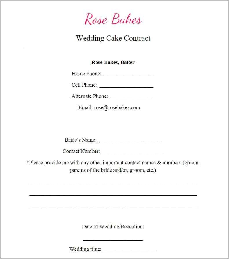 Free Cake Contract Template Generic Blank Wedding Cake Contract