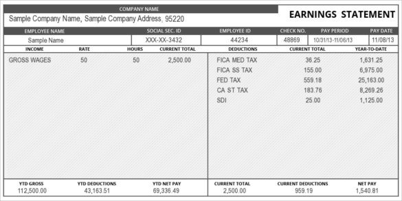 24 Pay Stub Templates Samples Examples & Formats