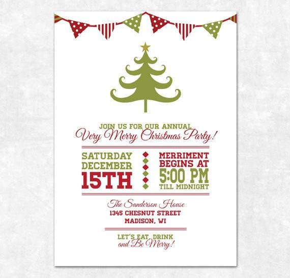 Free Christmas Party Invitation Templates Items Similar to Printable Christmas Invitation Holiday