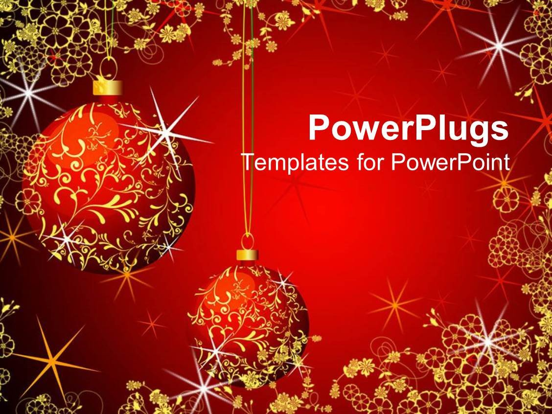 Free Christmas Powerpoint Templates Powerpoint Template Christmas theme with Red and Gold
