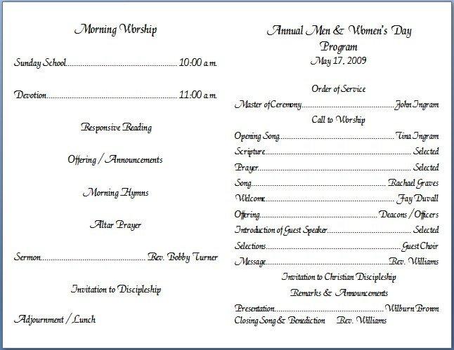 Free Church Programs Template Church Bulletin Templates