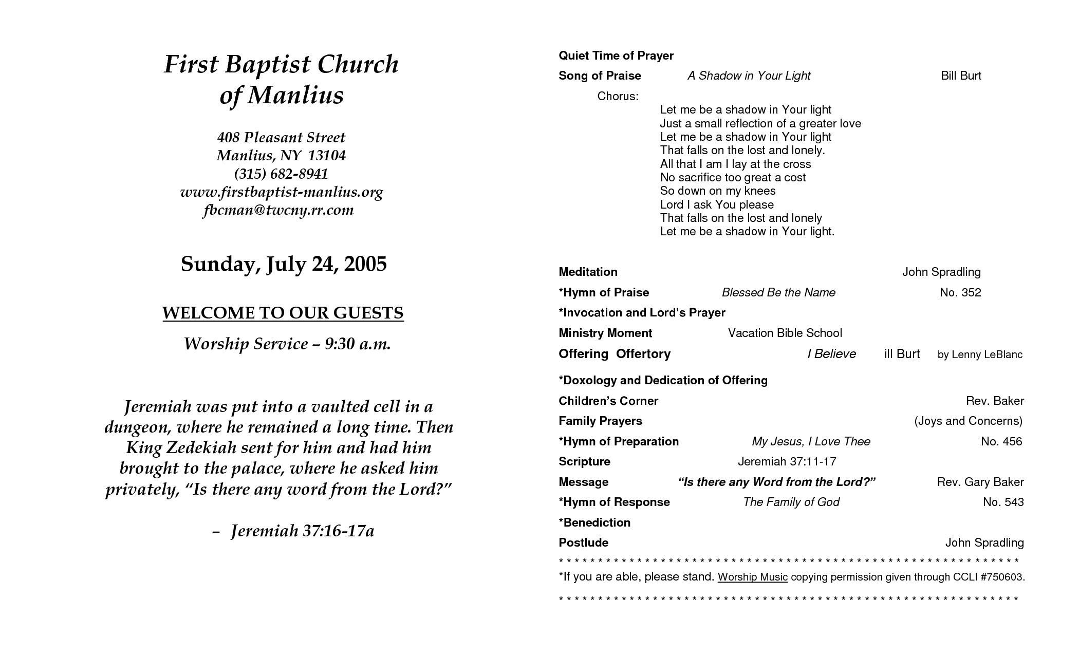 Free Church Programs Template Church Program Template
