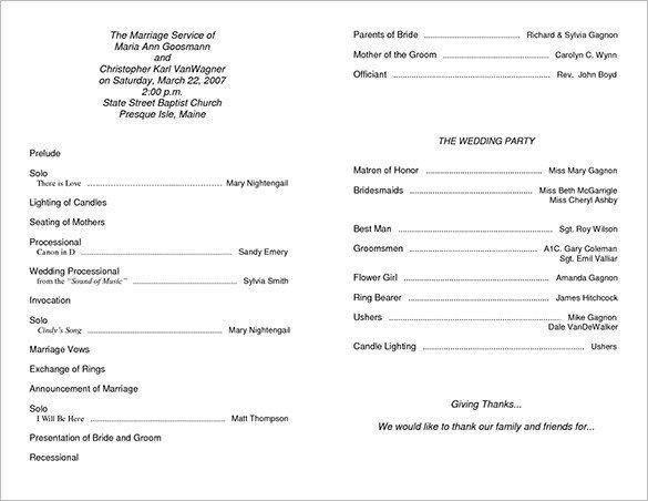 Free Church Programs Template Wedding Ceremony Program Template 36 Word Pdf Psd