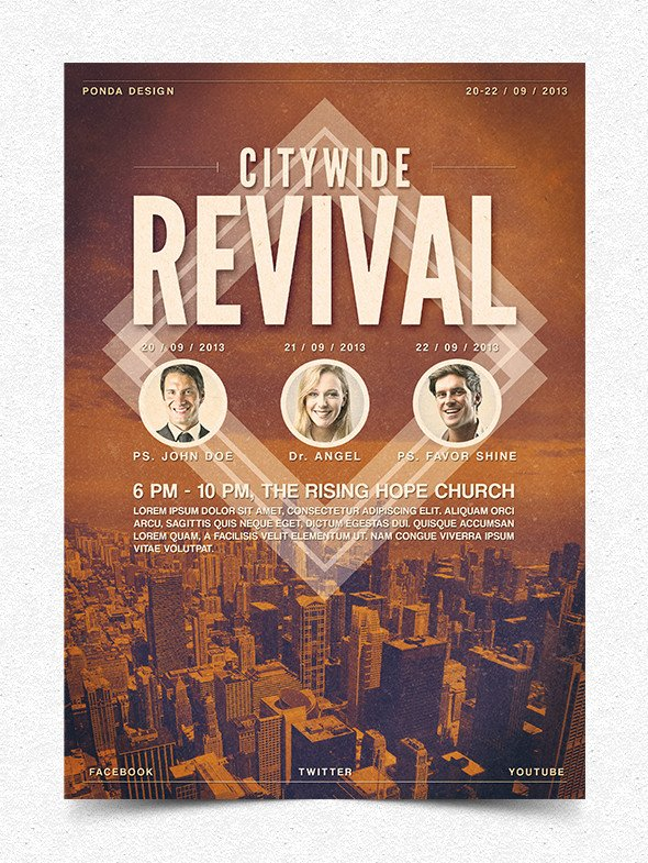 Free Church Revival Flyer Template Citywide Revival Flyer Poster Template by Junaedy Ponda On