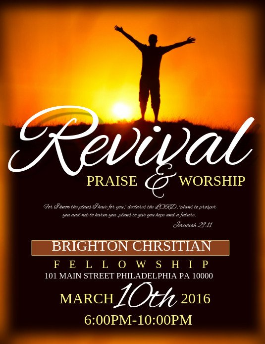 Free Church Revival Flyer Template Revival Template