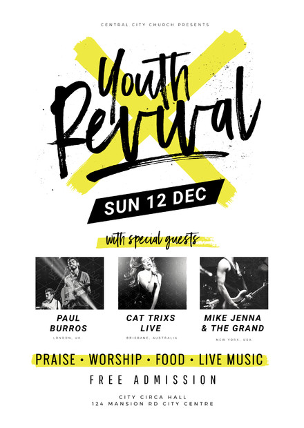 Free Church Revival Flyer Template Youth Revival Church event Template On