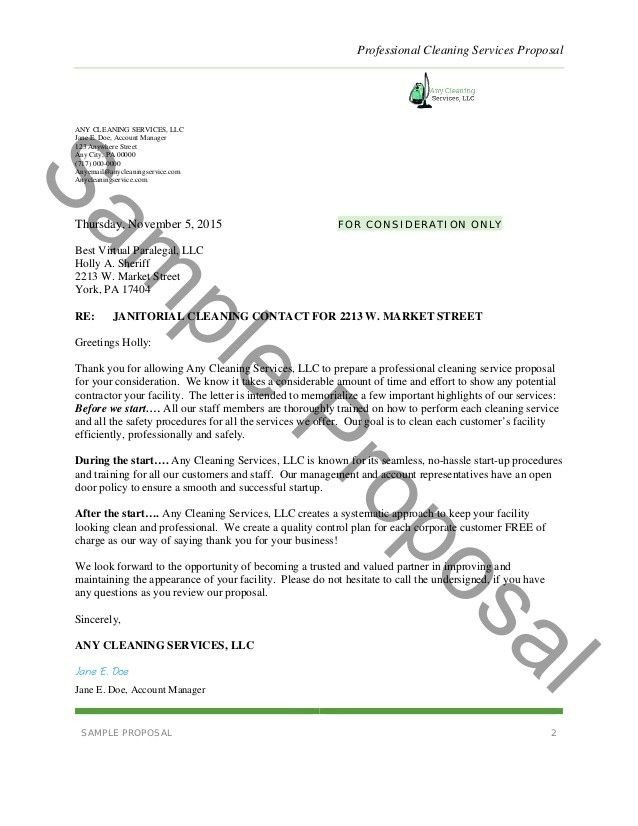 Free Cleaning Proposal Template Business Proposal Template for Cleaning Services Business