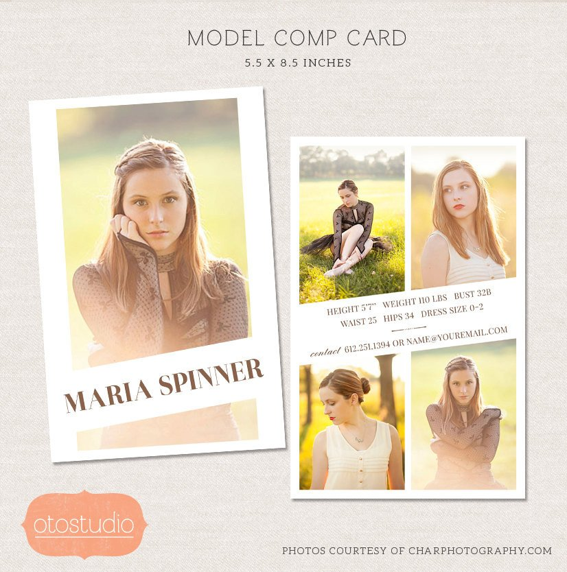 Free Comp Card Template Sale Model P Card Shop Template Editorial Chic